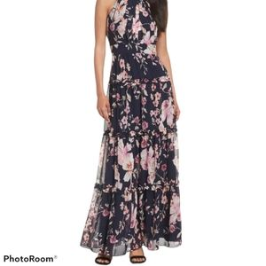 NEW Eliza J Chiffon Pleated Floral Maxi Dress SZ 4